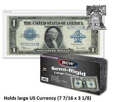 10 LARGE Semi Rigid Currency Banknote Holder Toploader BCW 9MIL US Bills Topload