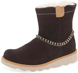 Clarks CROWN PIPER BROWN Girls Warm Lined Air Spring Boots 12 - 6 Ad FG Fit BNIB