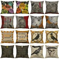 "18"" Cotton Linen Pillow Case Halloween Skull Cushion Cover Sofa Home Decor gh"