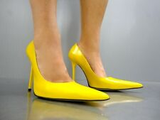 MADE IN ITALY LUXUS HEELS POINTY PUMPS SCHUHE LEATHER DECOLTE GIALLO YELLOW 41