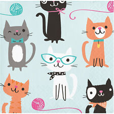 16 x Purrfect Cat Paper Party Beverage Napkins Cat Lovers Birthday Party Napkins