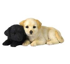"Labrador Puppies Decorative Statue Figurine, Tan and Black - 4 5/7"" Long 2 2/5"""