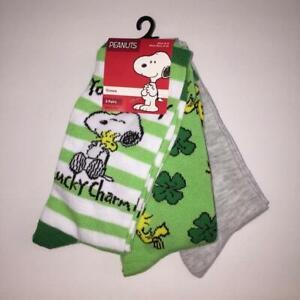 Peanut Snoopy & Woodstock St Patricks Day 3 Pair Crew Novelty Socks NWT