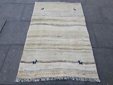 Old Traditional Hand Made Persian Oriental Cream Wool Gabbeh Rug 174x114cm