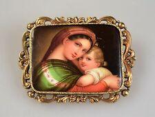 Alte Porzellan Brosche Jugendstil Miniatur Portrait Maria mit Kind Malerei