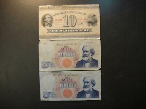 Trio (3) Vintage Banknotes. 1936 Denmark 10 Kroner & (2) 1962 Italy 1,000 Lire.