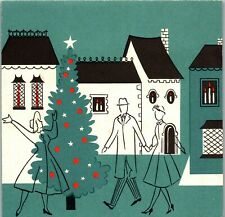 MCM Happy Family Town Home House Tree Sketch People VTG Christmas Greeting Card