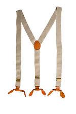 Beige 25mm Unisex Elastic Braces Adjustable Leather with Button Holes Trouser UK