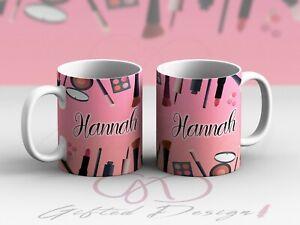 Personalised Make up cosmetics design blusher brushes lipstick girl cup mug gift