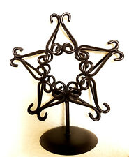 """Tabletop 10"""" Tall Wrought Iron Decorative 5-Point Star Tea Light Candle Holder"""