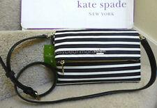 Kate Spade Mini Carson Cobble Hill Stripes Crossbody Shoulder Bag Black Cream