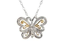 """Sterling Silver Genuine Diamond Two-tone Filigree Butterfly Pendant 18"""" Necklace"""