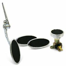 Oval Firewall Mnt Gas Pedal, Sm Oval Brake/Clutch/Dimmer Pad  Chromed