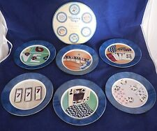 "Set of 6 Winning Ways Collection Gambling Cards Porcelain Casino 7"" Plates w Box"