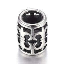 10pcs 304 Stainless Steel Metal European Beads Carved Column Antique Silver 12mm