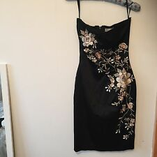 WAREHOUSE BLACK EMBROIDERED STRAPLESS EVENING DRESS UK 8 BNWOT
