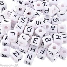 100PCs Mixed Cubic Acrylic Letter/ Alphabet Beads White DIY For Bracelet 10x10mm