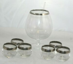 Vintage Thorpe Style Footed Cocktail Pitcher Stirrer And 6 Roly Poly Glasses
