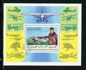 Mauritania Scott #372 U S/S History of Aviation Lindbergh $$