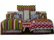 Little Miss Matched Queen Bed in a Bag Dots & Stripes Comforter Set Sheets 8 pc