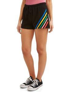 No Boundaries Juniors Shorts Black w/ Rainbow Stripes Stretch Fleece S M