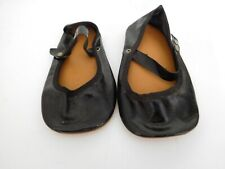 """Vintage Large 5.5"""" Black Oilcloth Side Snap Shoes for Playpal 36"""" Doll"""