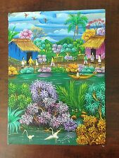 ECUADOR ? ORIGINAL SMALL ACRYLIC / OIL HAND PAINTING SIGNED BY THE ARTIST