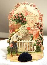 Boy greeting Girl, at Garden Gate, Flower Garden.  3-dimensional fold-down Card
