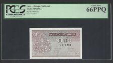 Lao One Kip Nd(1962) P8a Uncirculated Grade 66