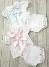 Girls Gorgeous Spanish Floral Ribbon Lace Dungaree /& Blouse Sets ⭐