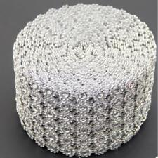 Rhinestone Roll Silver Diamond Flower Mesh Wrap Sparkle Crystal Ribbon DIY Decor