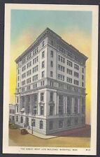 Ca 1936 POST CARD THE GREAT WEST LIFE BLDG.WINNIPEG CANADA, MINT