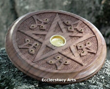 """Round Wooden Pentagram-Pentacle Incense Burner 5""""D for Incense Sticks-Cones"""