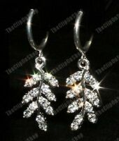 CLIP ON crystal LEAF DROP EARRINGS glass rhinestone DIAMANTE hoop clips silver p