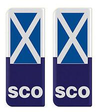 2x Scotland (SCO) Flag - Gel Domed Number Plate Badges/Decals 107x42mm