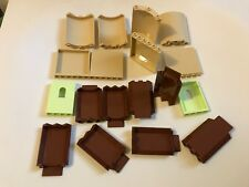 18 LEGO wall panels - tan brown lime green - wall curved corner - castle wall