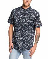 Quiksilver Mens Shirt Blue Size XL Floral Print Regular Fit Button Up $50 #092