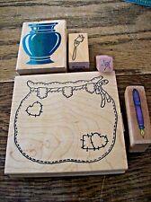 Vase Rubber Stamp, Fountain Pen Stamp, Patchwork Bag Stamp, Fork Stamp