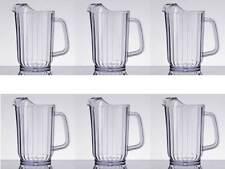 6-Pack Choice 32 oz. Clear Plastic Round Restaurant Beverage Pitchers 69032SAN