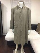 VTG🔥 Burberry Trench Coat Plaid Beige Gabardine With Wool Liner 42 Short