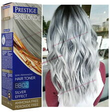 BB02 GREY HAIR SILVER EFFECT TONER DYE BLOND HAIR 100 ml. NO AMMONIA & PEROXIDE