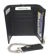 Genuine Cowhide Leather- Men's Tri-fold Wallet with Chain #4675