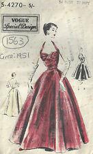 1951 Vintage VOGUE Sewing Pattern B34 EVENING DRESS (1563)