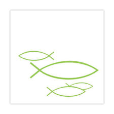 20 Cocktail Servietten Fische weiß grün Kommunion Taufe Konfirmation Tischdeko