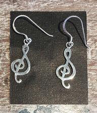 .925 Sterling Silver Treble Clef Ear Rings Hook Dangle  *Ships Same Day
