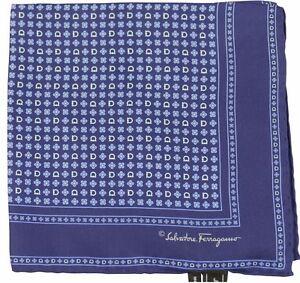 Salvatore Ferragamo Pocket Square/Hanky Navy/Blue Multi-Flower Pattern 100% Silk