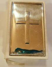 More details for 2008 carr's of sheffield sterling silver mounted white leather clad bible