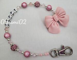 Bling bow Shamballa ❤ Crystal Romany Dummy Clip Personalised pink ❤