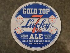 New listing 1940's Gold Top Lucky 7% Ale Beer Brewing Corp Hialeah Florida 12oz Label Nice