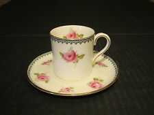 Aynsley England Porcelain Demitasse Pink Roses Decorated Cup & Saucer Set